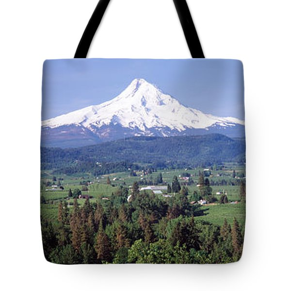 Trees And Farms With A Snowcapped Tote Bag