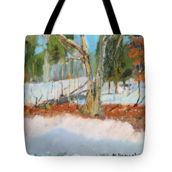 Trees And Snow Plein Air Tote Bag