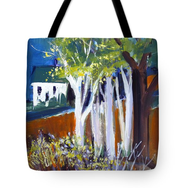 Trees And White Farm House Tote Bag by Betty Pieper