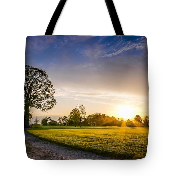 Trees At Dawn On Golf Course Tote Bag
