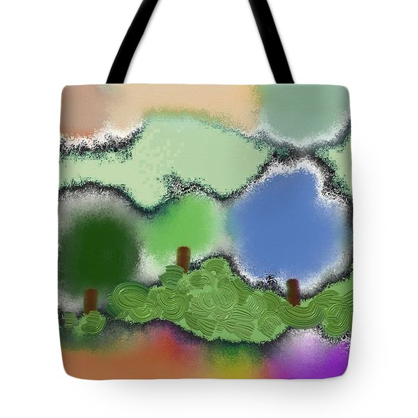 Trees Between Land And Sky Tote Bag by Lenore Senior