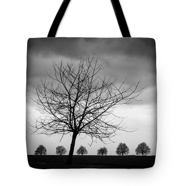 Trees Black And White Tote Bag