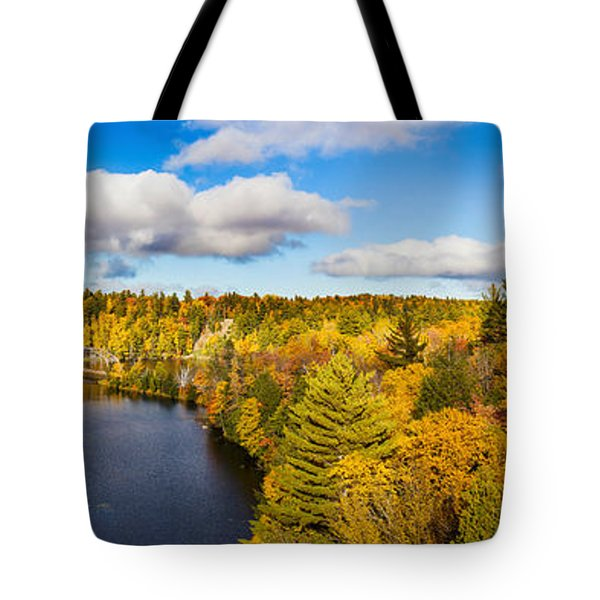 Trees In Autumn At Dead River Tote Bag