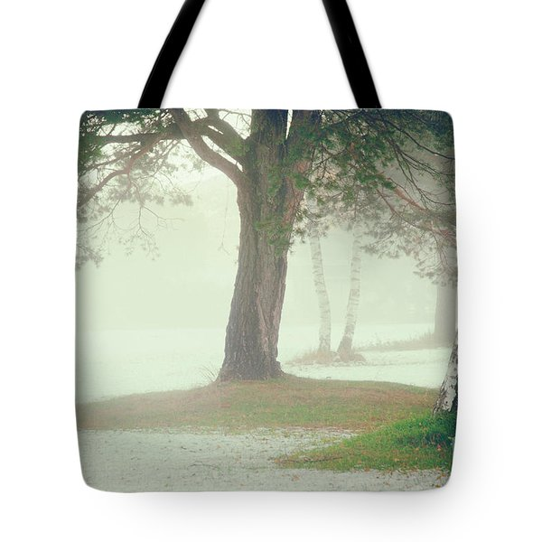Tote Bag featuring the photograph Trees In Fog by Silvia Ganora
