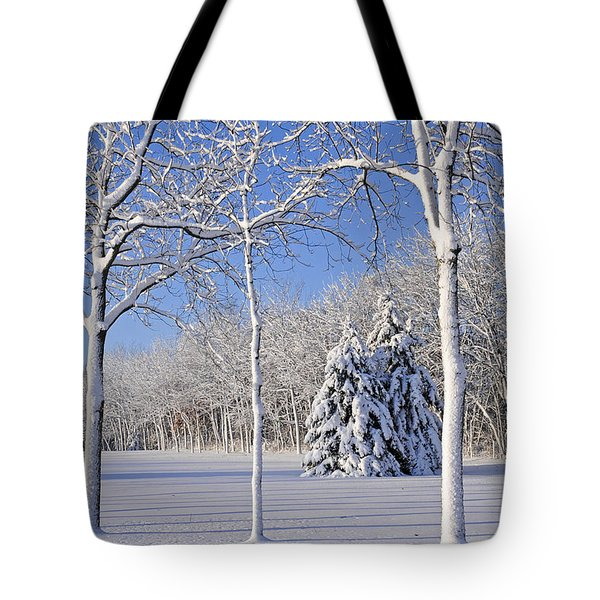 Trees In Snow  Wisconsin Tote Bag