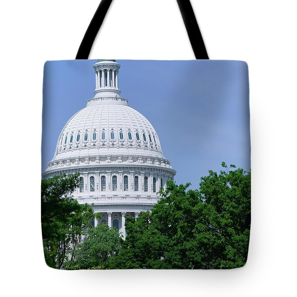 Trees In Spring And U.s. Capitol Dome Tote Bag