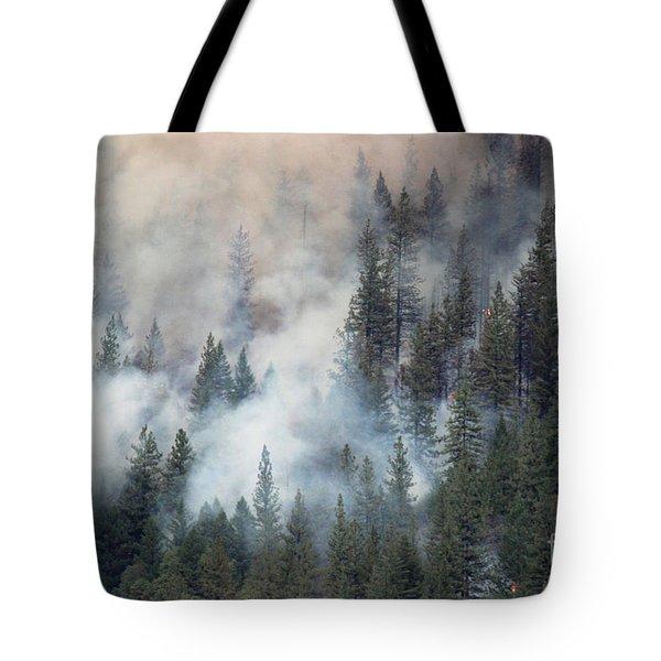 Beaver Fire Trees Swimming In Smoke Tote Bag