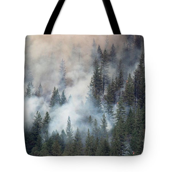 Beaver Fire Trees Swimming In Smoke Tote Bag
