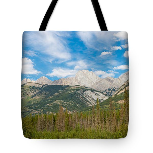 Trees With Canadian Rockies Tote Bag