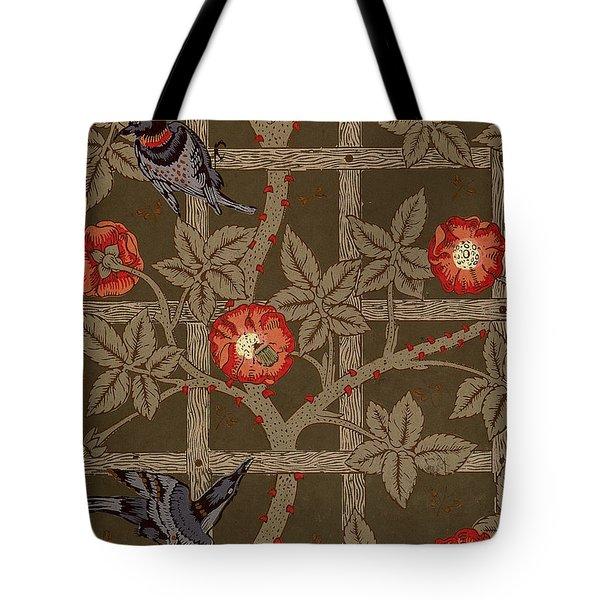 Trellis With Birds Tote Bag