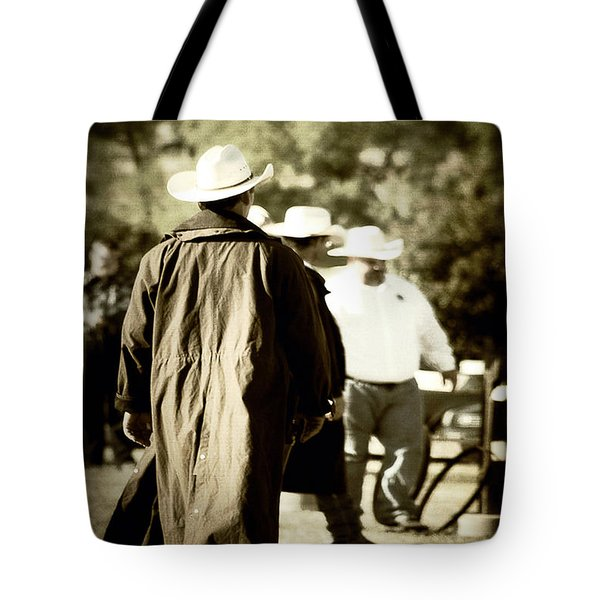 Trenchcoat Cowboy Tote Bag by Trish Mistric