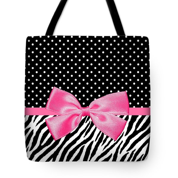 Trendy Zebra Print Pink Ribbon Tote Bag
