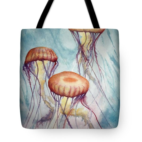 Tres Jellyfish Tote Bag by Jeff Lucas