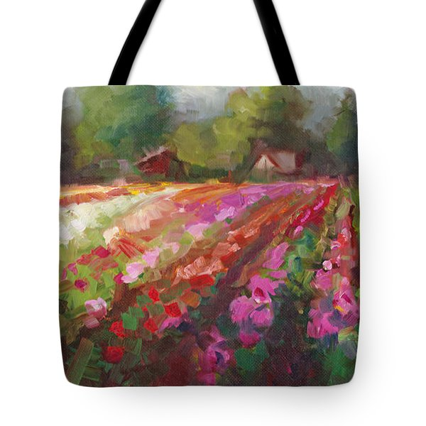 Trespassing Dahlia Field Landscape Tote Bag