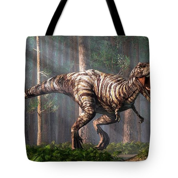 Trex In The Forest Tote Bag