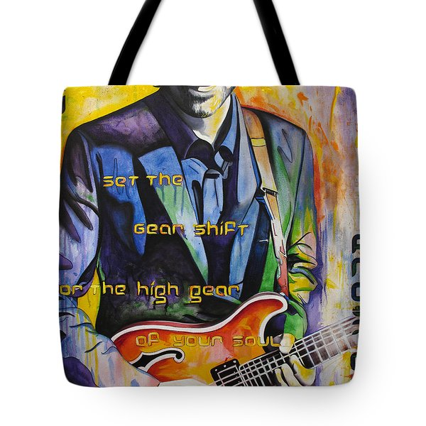Tote Bag featuring the painting Trey Anastasio And Antelope Lryics by Joshua Morton