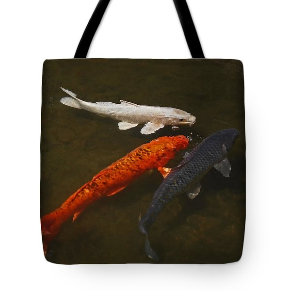 Tri-colored Koi Tote Bag by Rona Black
