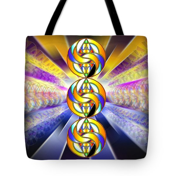 Tote Bag featuring the drawing Tri-crescent Yin Yang by Derek Gedney