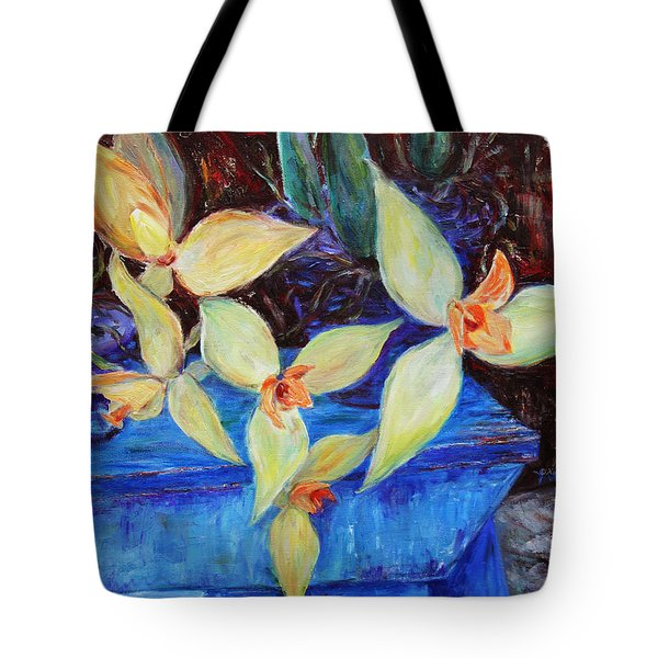 Tote Bag featuring the painting Triangular Blossom by Xueling Zou