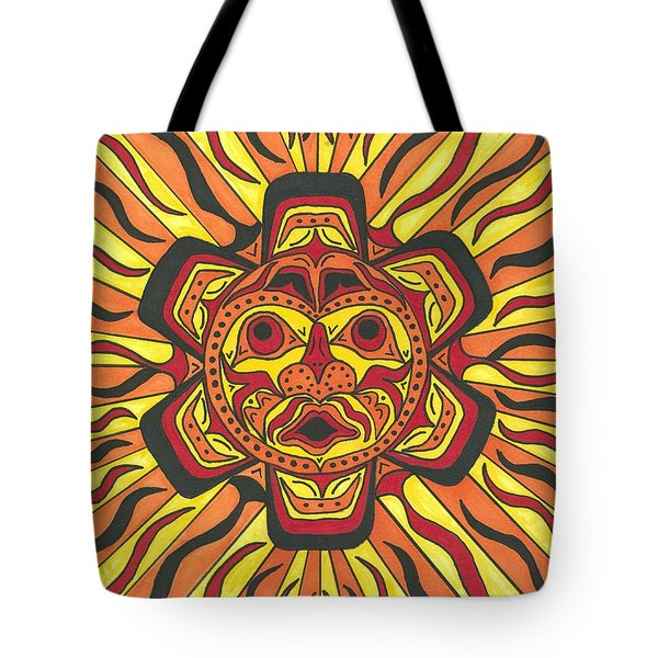 Tote Bag featuring the painting Tribal Sunface Mask by Susie Weber