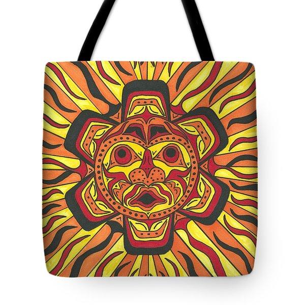 Tribal Sunface Mask Tote Bag