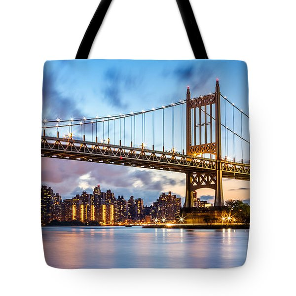 Triboro Bridge At Dusk Tote Bag by Mihai Andritoiu