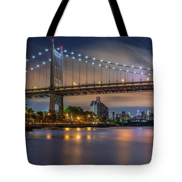 Tote Bag featuring the photograph Triboro Bridge by Mihai Andritoiu