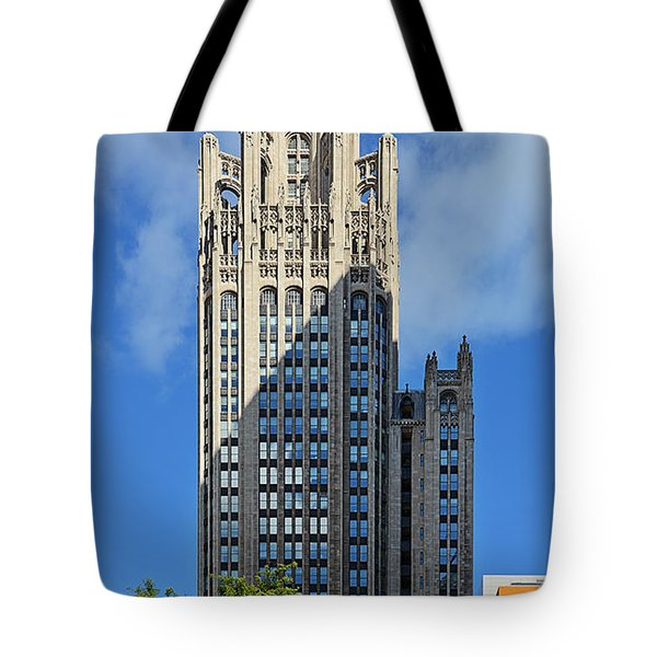 Tribune Tower Chicago - History Is Part Of The Building Tote Bag by Christine Till