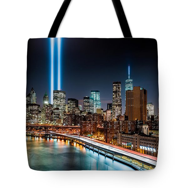Tote Bag featuring the photograph Tribute In Light Memorial by Mihai Andritoiu