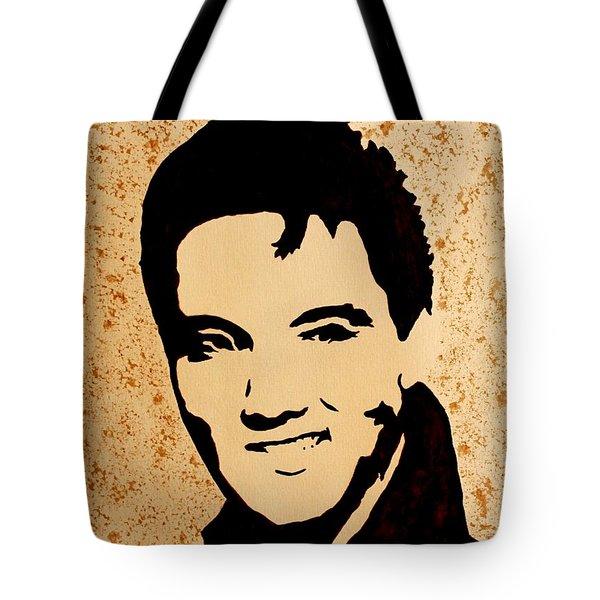 Tribute To Elvis Presley Tote Bag by Georgeta  Blanaru