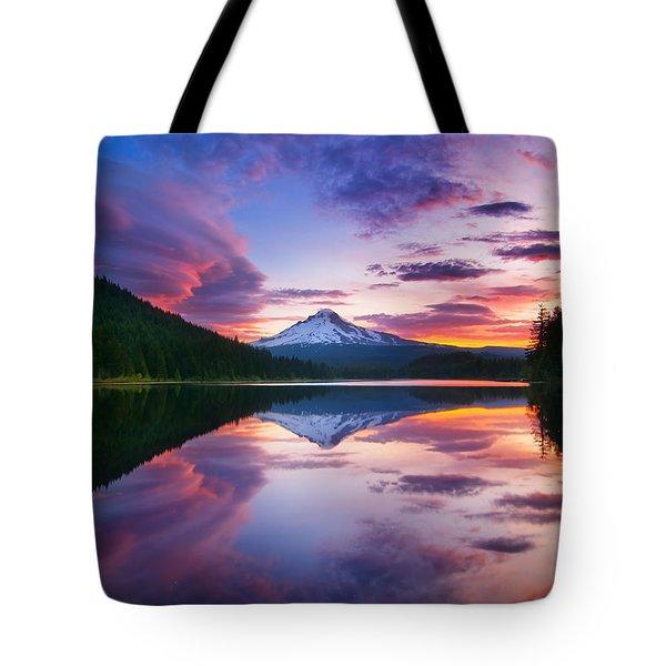 Trillium Lake Sunrise Tote Bag by Darren  White