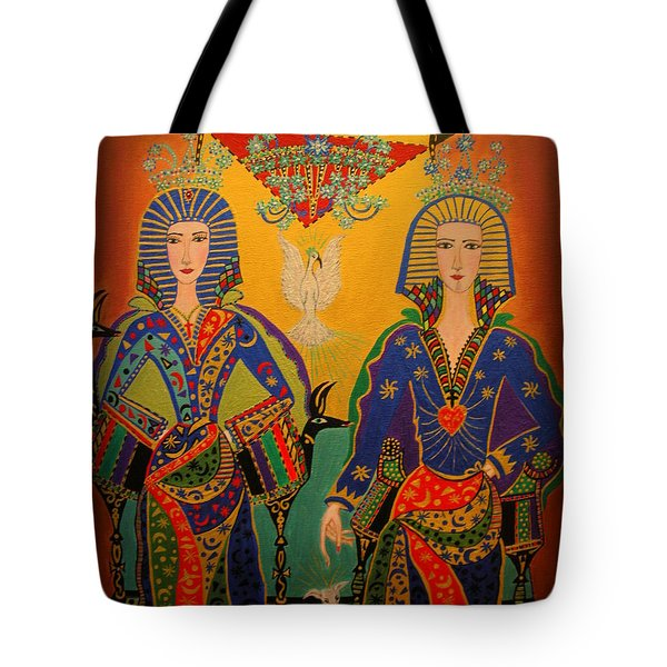 Tote Bag featuring the painting Trinity by Marie Schwarzer