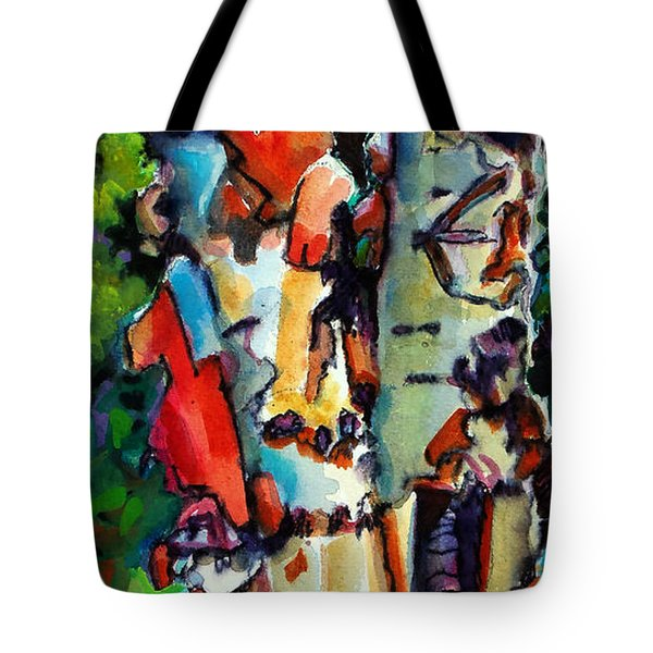 Tote Bag featuring the painting Trio Birch 2014 by Kathy Braud