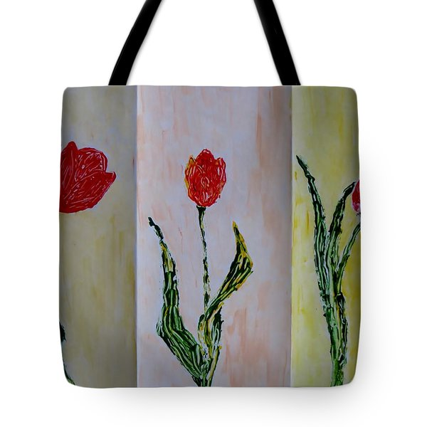 Trio Of  Red Tulips Tote Bag by Sonali Gangane