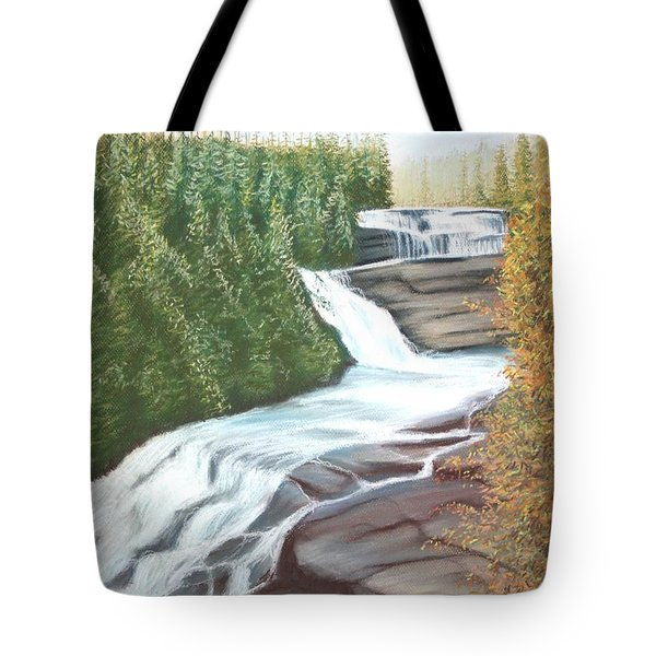 Tote Bag featuring the pastel Triple Falls by Stacy C Bottoms