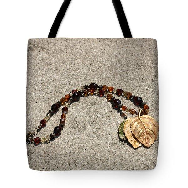 Triple Leaf Costume Brooch Pendant Necklace 3637 Tote Bag by Teresa Mucha
