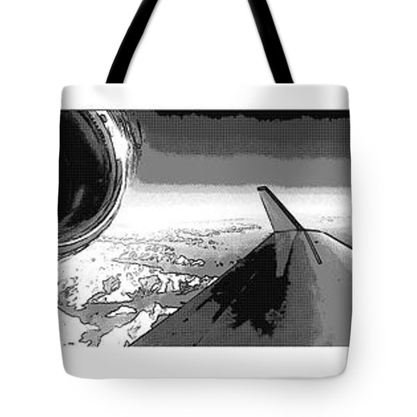 Tote Bag featuring the photograph Red White Black An White Blue An White Jet Pop Art Planes. by R Muirhead Art