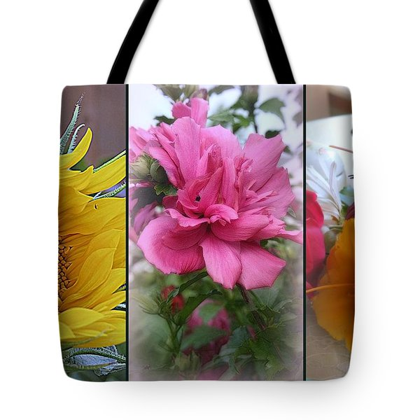 Triptych Of Summer Florals Tote Bag by Kay Novy