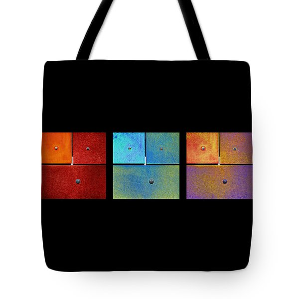 Triptych Red Cyan Purple - Colorful Rust Tote Bag by Menega Sabidussi