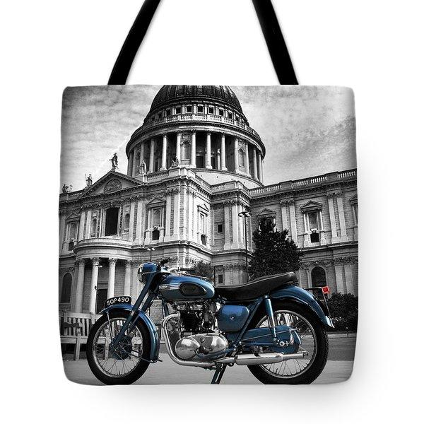 Triumph Thunderbird At St Pauls Cathedral Tote Bag by Mark Rogan