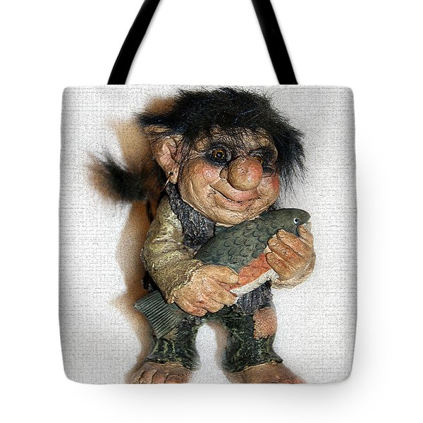 Tote Bag featuring the sculpture Troll Fisherman by Sergey Lukashin