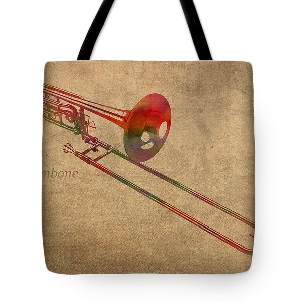 Trombone Brass Instrument Watercolor Portrait On Worn Canvas Tote Bag