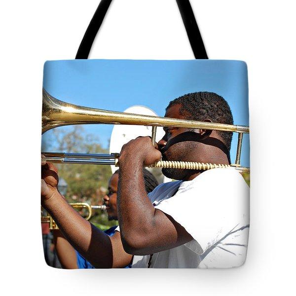 Trombone Man Tote Bag by Steve Harrington