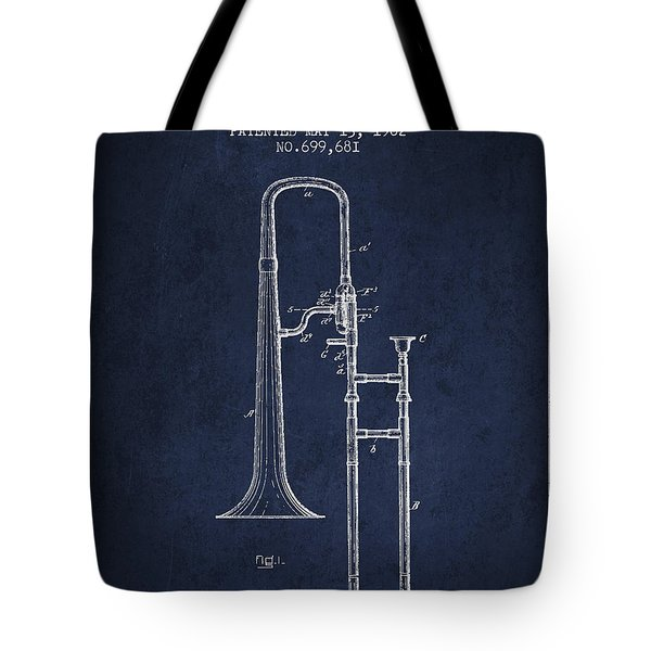 Trombone Patent From 1902 - Blue Tote Bag by Aged Pixel