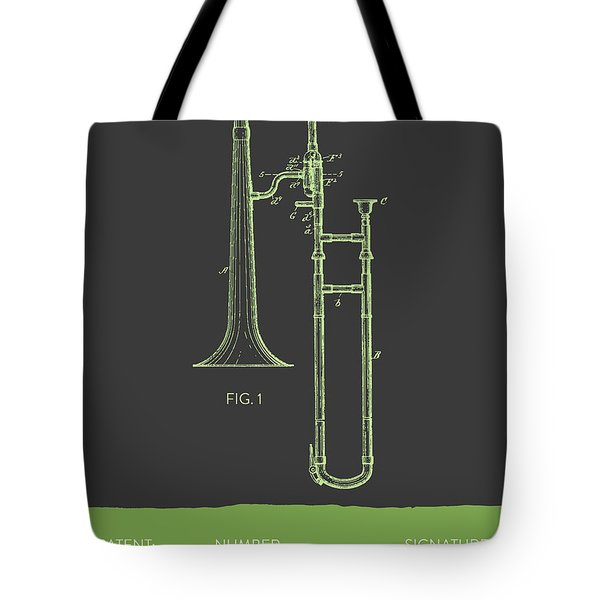 Trombone Patent From 1902 - Modern Gray Green Tote Bag