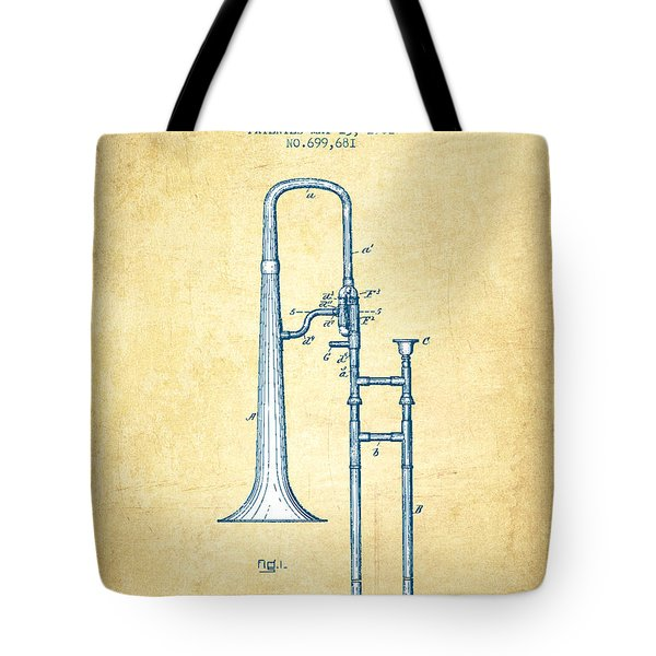 Trombone Patent From 1902 - Vintage Paper Tote Bag