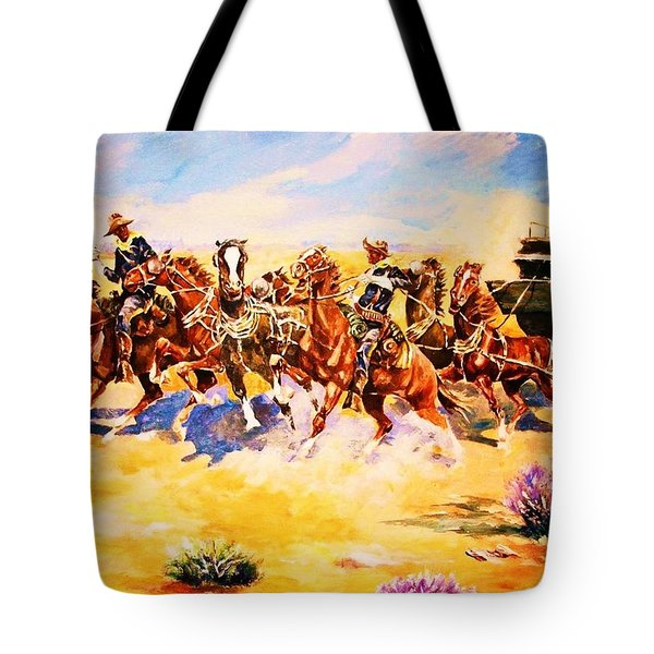 Troopers Stopping A Runaway Coach Tote Bag
