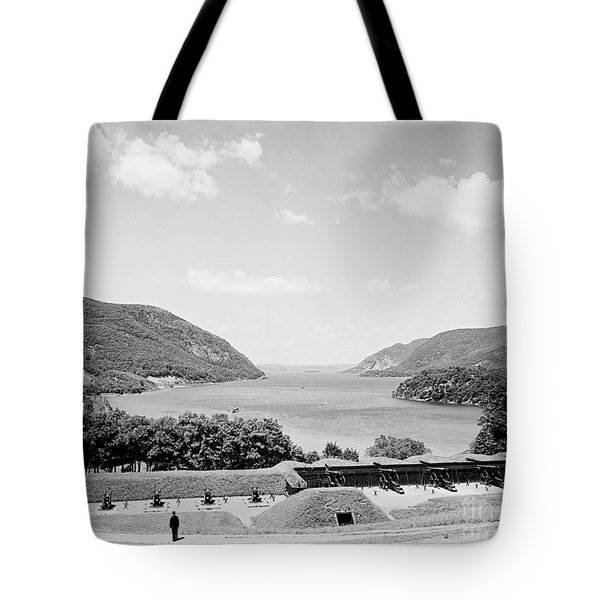 Trophy Point North Fro West Point In Black And White Tote Bag