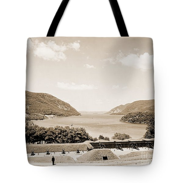 Trophy Point North Fro West Point In Sepia Tone Tote Bag