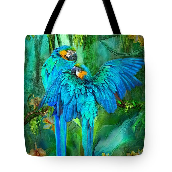 Tropic Spirits - Gold And Blue Macaws Tote Bag by Carol Cavalaris